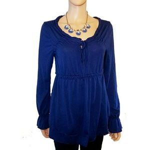 #384 Navy Blue Bell sleeves Blouse Top Runched